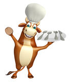 Bull cartoon character with chef hat and dinner plate Royalty Free Stock Photography