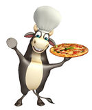 Bull cartoon character with chef hat and pizza Royalty Free Stock Photos