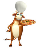 Bull cartoon character with chef hat and pizza Royalty Free Stock Photography