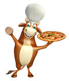 Bull cartoon character with chef hat and pizza Stock Image