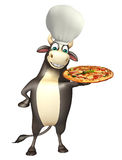 Bull cartoon character with chef hat and pizza Stock Images