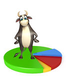 Bull cartoon character with circle sign. 3d rendered illustration of Bull cartoon character with circle sign Royalty Free Stock Photography