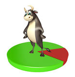 Bull cartoon character with circle sign. 3d rendered illustration of Bull cartoon character with circle sign Royalty Free Stock Images