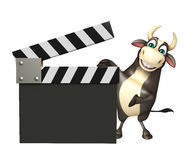 Bull cartoon character with clapper board. 3d rendered illustration of Bull cartoon character with clapper board Royalty Free Stock Photos