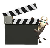 Bull cartoon character with clapper board. 3d rendered illustration of Bull cartoon character with clapper board Stock Photo