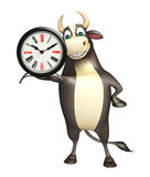 Bull cartoon character with clock. 3d rendered illustration of Bull cartoon character with clock Stock Image