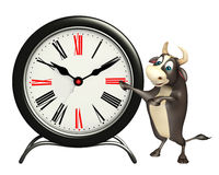 Bull cartoon character with clock. 3d rendered illustration of Bull cartoon character with clock Stock Photos
