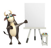 Bull cartoon character. 3d rendered illustration of Bull cartoon character with white board Stock Image