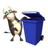 Bull cartoon character with dustbin. 3d rendered illustration of Bull cartoon character with dustbin Stock Photos