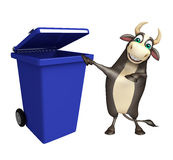 Bull cartoon character with dustbin. 3d rendered illustration of Bull cartoon character with dustbin Stock Photography