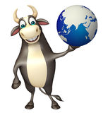 Bull cartoon character with earth Royalty Free Stock Images