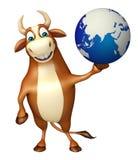 Bull cartoon character with earth Stock Photography