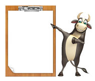 Bull cartoon character  with exam pad. 3d rendered illustration of Bull cartoon character  with exam pad Stock Image