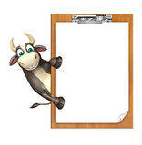 Bull cartoon character  with exam pad. 3d rendered illustration of Bull cartoon character  with exam pad Royalty Free Stock Photos