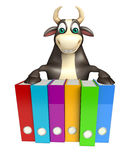 Bull cartoon character with files. 3d rendered illustration of Bull cartoon character with files Royalty Free Stock Photo