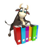 Bull cartoon character with files. 3d rendered illustration of Bull cartoon character with files Stock Image