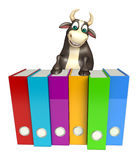 Bull cartoon character with files. 3d rendered illustration of Bull cartoon character with files Stock Photo