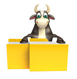 Bull cartoon character with folder. 3d rendered illustration of Bull cartoon character with folder Royalty Free Stock Photos