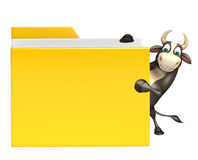 Bull cartoon character with folder. 3d rendered illustration of Bull cartoon character with folder Royalty Free Stock Photography