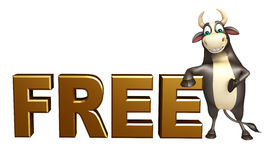 Bull cartoon character with free sign. 3d rendered illustration of Bull cartoon character with free sign Stock Images