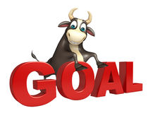 Bull cartoon character with goal sign. 3d rendered illustration of Bull cartoon character with goal sign Stock Images