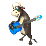 Bull cartoon character with guitar. 3d rendered illustration of Bull cartoon character with guitar Royalty Free Stock Photos