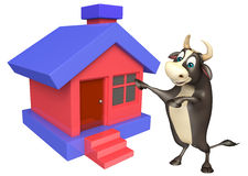 Bull cartoon character with home. 3d rendered illustration of Bull cartoon character with home Stock Images