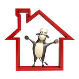 Bull cartoon character with home sign. 3d rendered illustration of Bull cartoon character  with home sign Stock Photo