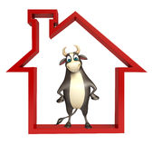 Bull cartoon character with home sign. 3d rendered illustration of Bull cartoon character  with home sign Stock Images