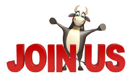 Bull cartoon character with join us sign. 3d rendered illustration of Bull cartoon character with join us sign Stock Photo