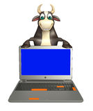 Bull cartoon character with laptop. 3d rendered illustration of Bull cartoon character with laptop Royalty Free Stock Photography