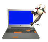 Bull cartoon character with laptop. 3d rendered illustration of Bull cartoon character with laptop Royalty Free Stock Photos