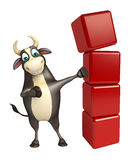Bull cartoon character with level. 3d rendered illustration of Bull cartoon character with level Royalty Free Stock Photos
