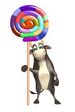Bull cartoon character  with lollypop. 3d rendered illustration of Bull cartoon character  with lollypop Royalty Free Stock Photography