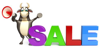 Bull cartoon character  with loudseaker and sale sign Stock Photo