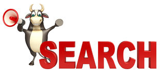 Bull cartoon character  with loudseaker and search sign Stock Photo