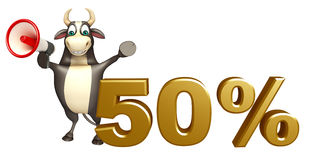 Bull cartoon character  with loudseaker and 50% sign. 3d rendered illustration of Bull cartoon character with loudseaker and 50% sign Royalty Free Stock Photos