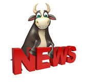 Bull cartoon character with news sign. 3d rendered illustration of Bull cartoon character with news sign Royalty Free Stock Image