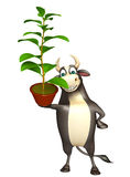 Bull cartoon character with plant. 3d rendered illustration of Bull cartoon character with plant Stock Images