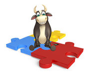 Bull cartoon character with puzzle. 3d rendered illustration of Bull cartoon character with puzzle Stock Images