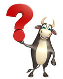 Bull cartoon character with question mark sign. 3d rendered illustration of Bull cartoon character with question mark sign Royalty Free Stock Photos