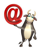 Bull cartoon character with at the rate sign. 3d rendered illustration of Bull cartoon character with at the rate sign Stock Photo