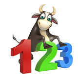 Bull cartoon character with 123 sign. 3d rendered illustration of Bull cartoon character with 123 sign Royalty Free Stock Photo