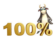 Bull cartoon character  with 100% sign. 3d rendered illustration of Bull cartoon character  with 100% sign Royalty Free Stock Image
