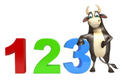 Bull cartoon character with 123 sign. 3d rendered illustration of Bull cartoon character with 123 sign Stock Image