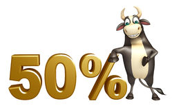 Bull cartoon character  with 50% sign. 3d rendered illustration of Bull cartoon character  with 50% sign Royalty Free Stock Photography