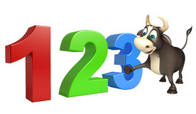 Bull cartoon character with 123 sign. 3d rendered illustration of Bull cartoon character with 123 sign Stock Photos