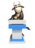 Bull cartoon character with  speech stage. 3d rendered illustration of Bull cartoon character with  speech stage Royalty Free Stock Image