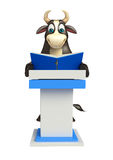 Bull cartoon character with speech table  and book. 3d rendered illustration of Bull cartoon character with speech table and book Stock Photos