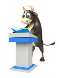 Bull cartoon character with speech table  and book. 3d rendered illustration of Bull cartoon character with speech table and book Stock Photo